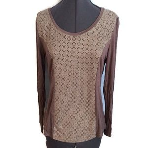 Solitaire Shirt Top M Brown Micro Suede Cutout New